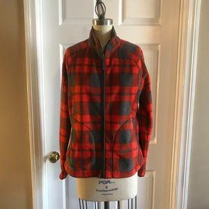 Beautiful Merona Full Zip Red Gray Plaid Fleece S